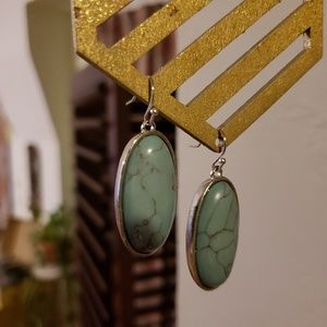 Silver Turquoise Pendant Earrings